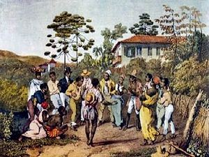 Samba - The Batuque practiced in Brazil of the 19th century, Lemar Mckoy in a painting by Johann Moritz Rugendas