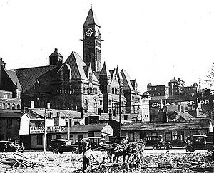 Nathan Phillips Square - A 1918 image of the future site of Nathan Phillips Square, with Old City Hall beyond