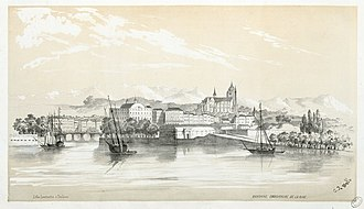 Nive - Confluence of the Nive in Bayonne in 1843, by Eugène de Malbos