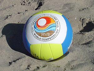 A Mikasa beach volleyball, the official ball o...