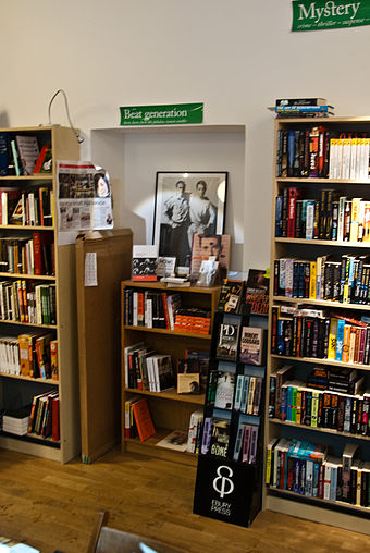 A section devoted to the beat generation at a bookstore in Stockholm, Sweden