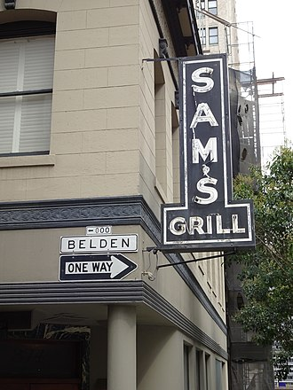Belden Place - Image: Belden Place Street Sign and Sam's Grill Neon Sign
