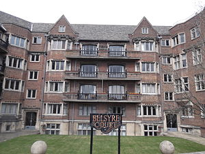 Observatory Street - Belsyre Court, a 1936 Grade II listed apartment block at the eastern end of Observatory Street.