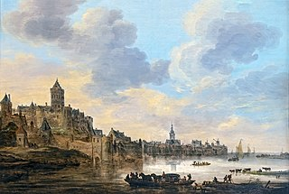 View of Nijmegen with a Ferry