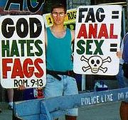 "Fred Phelps' grandson Benjamin Phelps, informed his grandfather about the existence of the Internet and made the first ""GodHatesFags"" page. The cited Bible verse, Romans 9:13, does not mention homosexuality, but is a biblical example of God hating a certain person (in this case, Esau)."