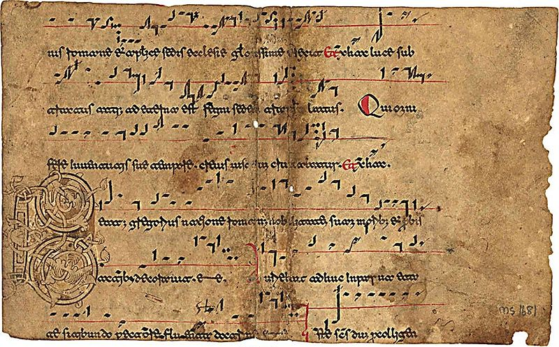 12th-century Beneventan manuscript showing diastematic neumes and a single-line staff Beneventan music manuscript example.jpg