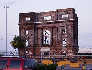 Hurricane Donna - The facade of the 1840s-era Bennett's Rice Mill in Charleston, South Carolina; much of the structure was destroyed by a tornado.