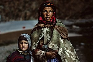 Hill people - A Berber family in the Atlas Mountains of Morocco.