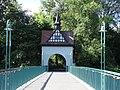 Berlin-Alt-Treptow Abteibrücke Aufgang Blick von der Insel der Jugend auf den Turm im Treptower Park.JPG