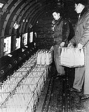 Berlin Blockade - Loading milk on a West Berlin-bound aircraft