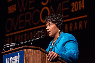 Bernice King - King in April 2014 speaking at the Lyndon B. Johnson Presidential Library and Museum.