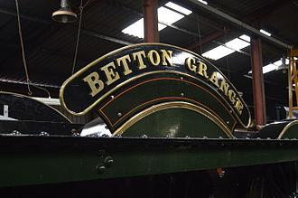 GWR 6800 Class 6880 Betton Grange - Betton Grange's driver's side nameplate on her frames