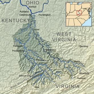 Big Sandy River (Ohio River) - Image: Bigsandyrivermap