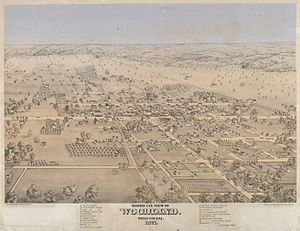 Woodland, California - Bird's-eye view of Woodland ca. 1871