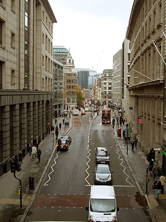 Bishopsgate - Looking north from a pedestrian bridge across Bishopsgate in 2004.