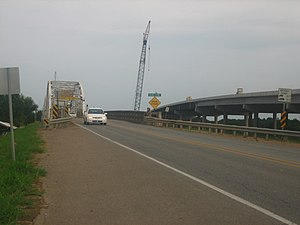 Jonesville, Louisiana - Motorists used the old Black River bridge in Jonesville prior to completion of the new structure to the right.