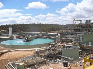Buildings and equipment of a large mining operation