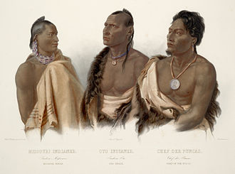 Missouria - A Missouria warrior on the left, painting by Karl Bodmer