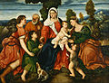 Bonifacio de' Pitati - The Holy Family with Tobias and the Angel, Saint Dorothy, Giovannino, and the Miracle of the Corn be... - Google Art Project.jpg