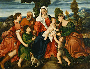 The Holy Family with Tobias and the Angel, Saint Dorothy, Giovannino, and the Miracle of the Corn beyond