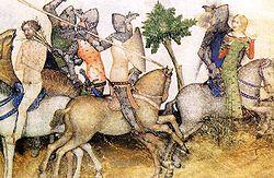 En el Libro XVI, Sir Bors se ve en el dilema de rescatar a Sir Lionel (desnudo sobre el caballo blanco, a la izquierda) o a una doncella en peligro.