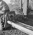 Bosbewerking, arbeiders, boomstammen, landbouwmachines, werktuigen, sleepwerkzaa, Bestanddeelnr 253-4005.jpg