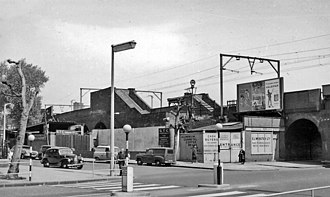 Bow Road railway station - Station building remains in 1961