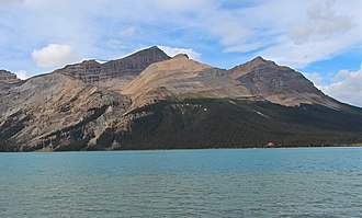 Mount Jimmy Simpson - Mount Jimmy Simpson seen from Icefields Parkway at Bow Lake.