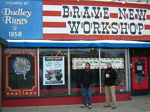Brave New Workshop - Two theater members in front of the building, Hennepin Avenue