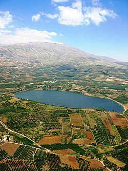 Lake Ram near Mount Hermon (background), in the northeastern Golan Heights