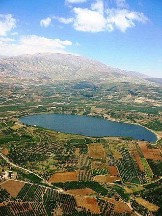 Golan Heights - Lake Ram near Mount Hermon (background), in the northeastern Golan Heights