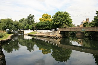 River Brent - Grand Union Canal joining the River Brent at the end of Green Lane. The lock-gates stand on the site of the former Billetts Hart Bridge