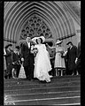 Bride and groom walking down St Marys Cathedral steps, Sydney (7290338212).jpg