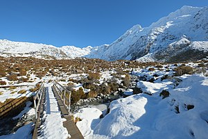 Hooker Valley Track - Bridge over Stocking Stream in winter