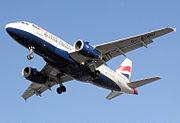 A British Airways Airbus A319 landing at London Heathrow Airport.