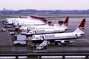 Heathrow Terminal 1 - Lineup of British Airways aircraft at T1 in the early 1980s