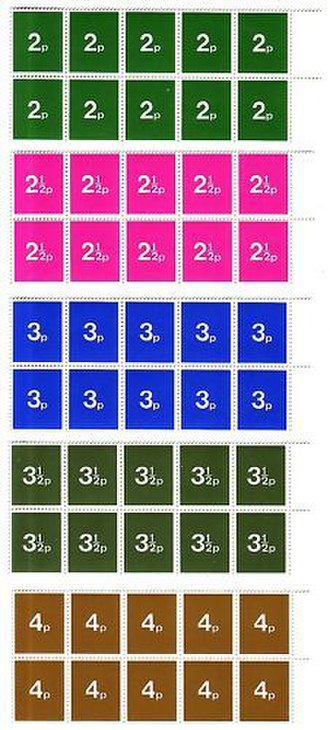 Decimal Day - British decimalisation training stamps in the same colours and values as the upcoming decimal stamps.