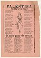 Broadsheet with two narrative love ballads, woman wearing a costume consisting of a leotard,cape, and boots MET DP868528.jpg