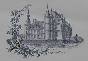 Stéphen Liégeard - The château of Brochon, represented in Stéphen Liégeard's writing paper.