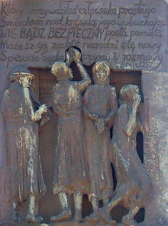 Monument to the Fallen Shipyard Workers of 1970 - Image: Brosen Milosz Poem Shipyard Gdansk