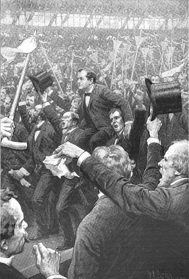 William Jennings Bryan carried on the shoulders of delegates after giving the speech
