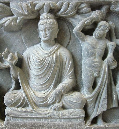 Heracles depiction of Vajrapani as the protector of the Buddha, 2nd century Gandhara, British Museum.