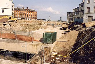 """A4232 road - Construction of the Queen's Gate Tunnel during the """"cover"""" phase of the """"cut and cover"""" method of construction"""