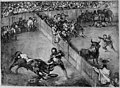 Bullfight in a divided ring, from the 'Bulls of Bordeaux' MET 270385.jpg