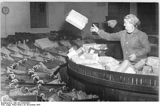 Parcel post - Sorting parcels in Berlin 1953.