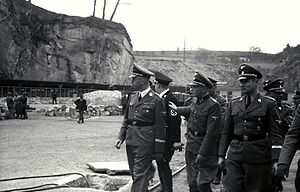 Karl Wolff - Himmler, Franz Ziereis and Wolff at Mauthausen-Gusen concentration camp (April 1941)