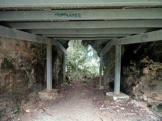 Agat Invasion Beach - Interior of the bunker at Ga'an Point