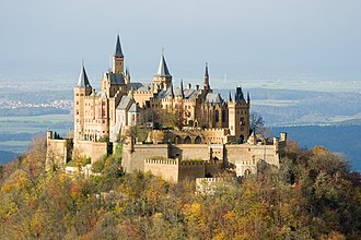 Hilltop castle - Hohenzollern Castle in present-day Baden-Württemberg, Germany, a typical example of a hilltop castle