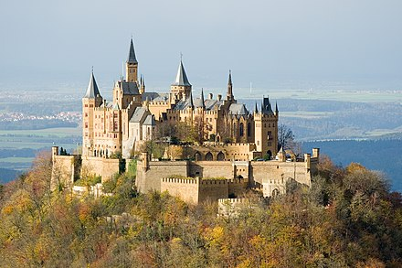 Hohenzollern Castle near Hechingen was built in the mid-19th century by Frederick William IV of Prussia. Burg Hohenzollern ak.jpg