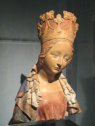 Terracotta - International Gothic bust of the Virgin Mary, Bohemia, c. 1390–95, terracotta with polychromy
